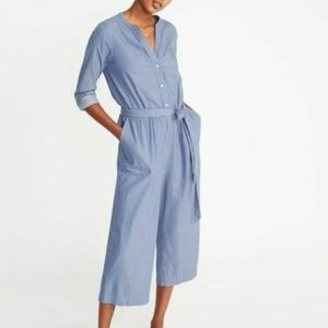 Old Navy Chambray Utility Jumpsuit Pockets